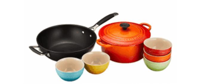 【ルクルーゼ】 両手鍋 22cm オレンジ フライパン 食器セット 7個入