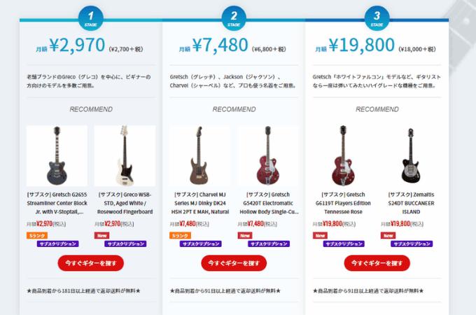 自分の予算に合わせてギターを借りれる