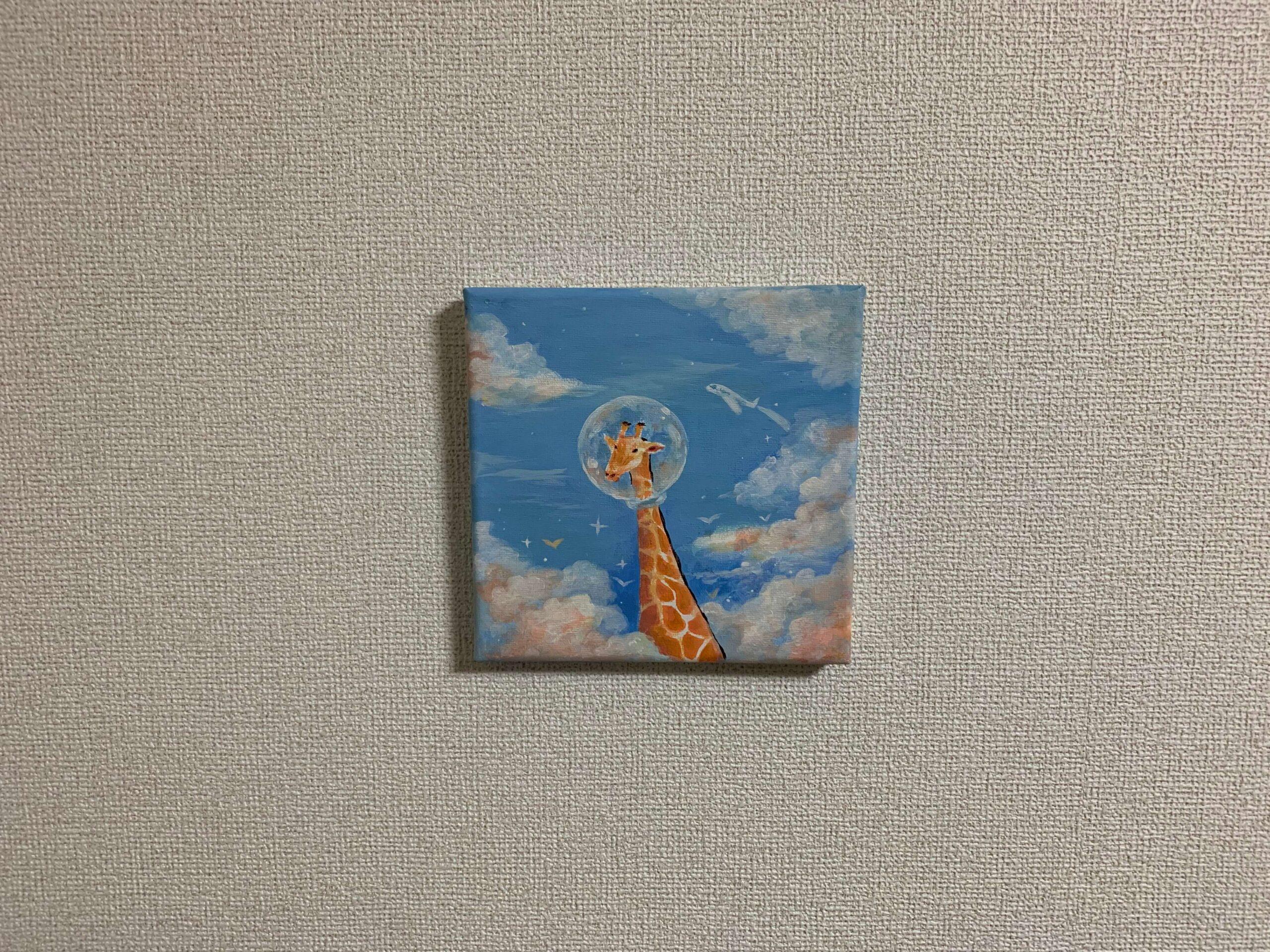 画鋲に絵画をかけてみました。